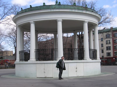 James Hannon in front of the Poe Park bandstand